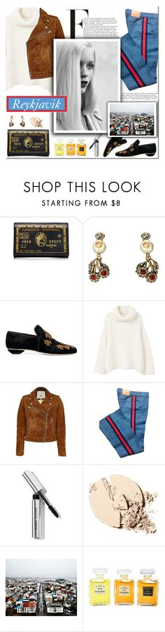 How to Style a White Turtleneck with a Suede Motorcycle Jacket and Velvet Slip-Ons for Travel to Reykjavik this Fall by outfitsfortravel on Polyvore featuring MANGO, River Island, Gucci, Sanayi 313, Preciously, Bobbi Brown Cosmetics, Chanel and GE