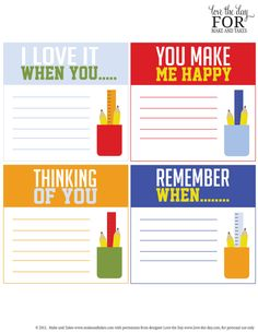 Really dig these free printable idea starter lunchbox notes at Make and Takes. Fill it in with notes of encouragement for your kids.