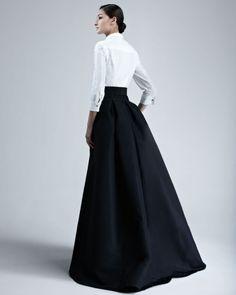 Carolina Herrera Shirtwaist Taffeta Ball Gown in White (ivory/black) | Lyst