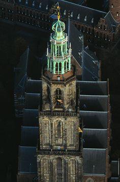 Martinitoren, Martinikerk en het provinciehuis, Groningen.