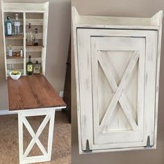Ana White | Drop down murphy bar - DIY Projects with cork board or chalk board in front when folded up