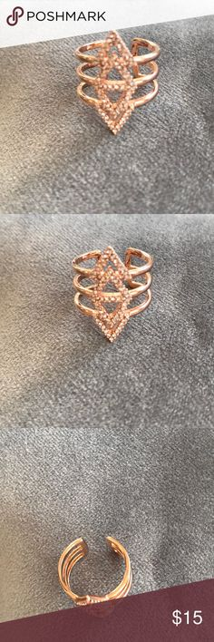 Never worn pave rose gold ring. Not Stella. & Dot NWOT pave  ring rose gold adjustable... not sure if they are Stella  and Dot, but looks just like them. Was a gift without box  in a gift bag.   Adorable.  Never worn.   Non smoking pet free home. Stella & Dot Jewelry Rings