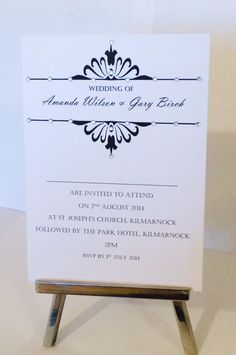 Simple flat card with diamanté embellishment, designs and colour options available by Made Marvellous Invites, Wedding Invitations, Park Hotel, Rsvp, Embellishments, Place Card Holders, Colour, Flat, Simple