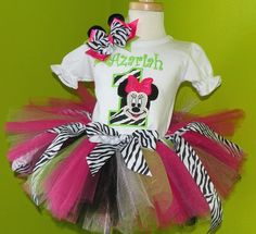 Hot Pink n Lime Green Minnie Mouse Face Birthday Girls Tutu Outfit-Perfect for miss Lily's 1st birthday!