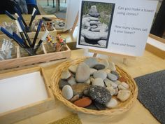 """Close up of invitation to create Stone Towers - from The Curious Kindergarten ("""",)"""