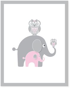 pink and gray elephant nursery wall art, girls wall prints, owl, childrens wall decor, kids art pictures for baby and toddlers Nursery Room, Nursery Wall Art, Girl Nursery, Bedroom, Baby Kind, My Baby Girl, Baby Love, Elephant Nursery, Baby Elephant