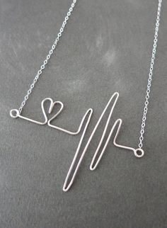 Heartbeat Necklace Rose Gold Filled Wired hand