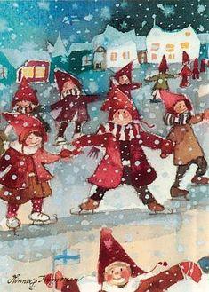 Minna L. Winter Illustration, Christmas Illustration, Illustration Art, Christmas Love, Christmas Pictures, Xmas, Vintage Postcards, Photo Postcards, Skate Art