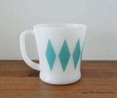Vintage Fire-King Turquoise Diamond Mug - Vintage Coffee Mug ...