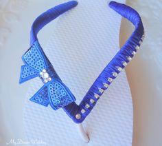 fd5e9baa8df22e Items similar to Royal Blue Flip flops.Bow bridal flip flops-Swarovki  Crystals