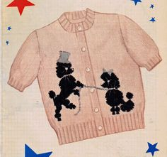 For you a PDF file of our original Vintage Knitting Pattern. Knit O Graf 211 Teen Girls Poodle short sleeve Cardigan PATTERN  In teen size 12 14 16