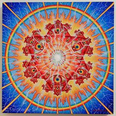 "Visionary Artist Alex Grey's original mandala painting ""Vision Crystal"""