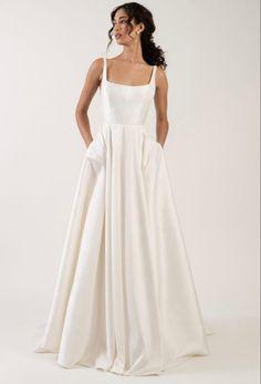 Formal Dresses For Weddings, Wedding Dress Sizes, Formal Wedding, Dream Wedding Dresses, Bridal Dresses, Wedding Gowns, Square Wedding Dress, Wedding Dress With Pockets, Minimal Wedding Dress
