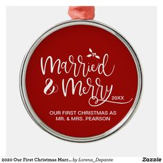 2020 Our First Christmas Married Merry Red Metal Ornament - The ornaments that tend to always make it up on our tree are the ones that are personalized. Change up the background color and customize this ornament to remember your first Christmas as Mr. and Mrs. for years to come. Christmas Door, Christmas Ornaments, First Christmas Married, Xmas Presents, Christmas Card Holders, Christmas Projects, Holidays And Events, Holiday Gifts, Merry