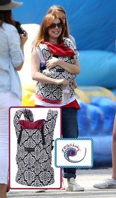 "Alyson Hannigan featured in Celebrity Baby Scoop's ""Get the Look"" in our Designer Collection Petunia Pickle Bottom ""Frolicking in Fez"" carrier"