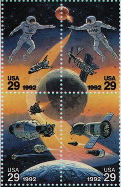 """""""With the advent of a cooperative space station program which included the Russian space program, a commerative stamp was issued in 1992."""" ~NASA"""