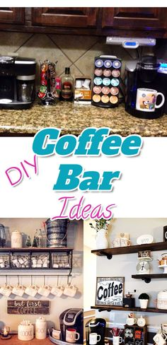 DIY ciffee bar ideas - make your own coffee bar / coffee station set up in your kitchen on your kitchen counter or on it's own coffee bar table.