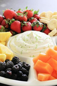 Creamy Lime Yogurt Fruit Dip only takes 5 minutes to throw together and is perfect for a summer dessert or dish to take to a potluck. Yummy Appetizers, Appetizer Recipes, Delicious Desserts, Yummy Food, Appetizer Dips, Fun Food, Fruit Yogurt, Greek Yogurt