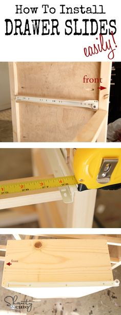 How to easily install drawer slides. Actual tutorial is here: http://www.shanty-2-chic.com/2013/05/pottery-barn-inspired-armoire-drawers.html