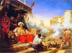 The Massacre of the Mamluks in the Citadel of Cairo (Devlet-i `Aliyyeh-i `Utsmaaniyyeh, Mishr, al-Qaahirah', Qal`ah' Shalaah' ad-Diin) (1234 H Artwork; Latin - Islaam; Royaume de France; Emile Jean-Horace Vernet (Francais; 1203.10.6 (Royaume de France, Paris, Palais du Louvre) - 1279.7.27 (Empire Francais, Paris) H Franci; Artist)) #OttomanCaliphate #Egypt | Depicting the massacre of Mamluk Invitees by Mehmet Ali Pasha (under the reign of Mahmud II who secularize the Ottoman Caliphate)