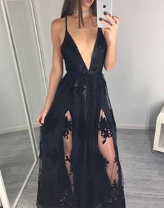 Deep V-neck Prom Dresses,Split Prom Dresses,Black Prom Dresses,Appliques Lace Prom Dresses,simple prom dresses prom dresses plus size