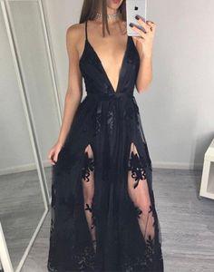 Deep V-neck Prom Dresses,Split Prom Dresses,Black Prom Dresses,Appliques Lace Prom Dresses,simple prom dresses prom dresses plus size