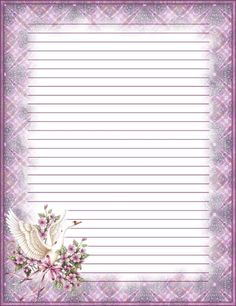 """""""Dove over Cherry Blossoms"""" Stationary Printable, Printable Lined Paper, Pocket Letter, Lined Writing Paper, Pretty Writing, Freebies, Notebook Paper, Journal Paper, Stationery Paper"""
