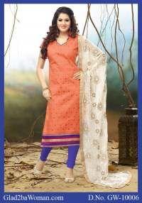 Reddish Orange and Blue Chanderi Cotton Salwar Dress Material