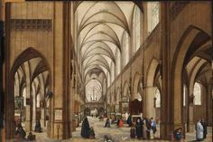 Antwerp-Cathedral-by-Hendrik-I-van-Steenwijck -> show the cathedral immediately after Calvinist rule, when the church was in the midst of a restoration