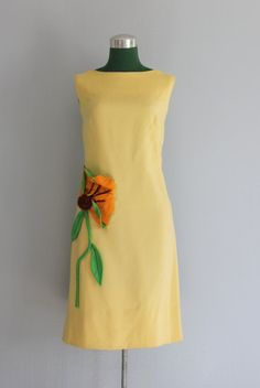 Vintage Dress / 1960s Sunflower Dress / I Magnin / by HolliePoint