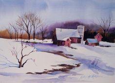 Daily Paintworks - Kathy Los-Rathburn Snow Scenes, Old Barns, Fine Art Gallery, Watercolors, Watercolor Art, Florida, Paintings, Artist, Outdoor