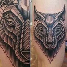WOLF Art by IHSQUARED Tattoo done by Craig Secrist @ heart of gold tattoo in SLC Utah.