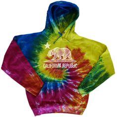945e96cf583 California bear Spiral tie dye hoodie Tie Dye Sweatshirt