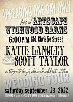 Country Rustic Vintage Wedding Invitation // Concert Poster // Natural Paper // Retro