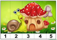 puzzles infantiles para aprender los números-3 Insect Activities, Preschool Learning Activities, Animal Activities, Autumn Activities, Kids Learning, Counting Puzzles, Baby Sensory Play, File Folder Activities, Numbers Preschool