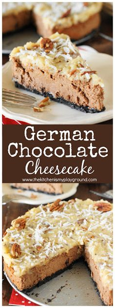 German Chocolate Cheesecake ~ Creamy chocolate cheesecake baked atop an Oreo crumb crust & topped with classic German chocolate cake coconut-pecan topping.  It's one very tasty #cheesecake, indeed. #Germanchocolate  www.thekitchenismyplayground.com
