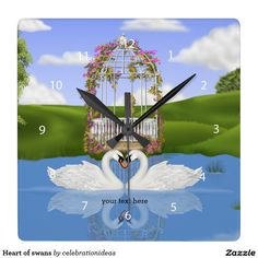 Sold. #Heart of #swans square #wallclock Available in different products. Check more at www.zazzle.com/celebrationideas