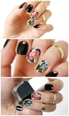 $0.99 Chic Flower Nail Art Water Decals Transfer Stickers Splendid Water Decals Sticker #D013/D014/D015 - BornPrettyStore.com