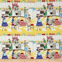 Michael Miller Home Ec Yellow Sushi Blue, Halloween Gingerbread House, Retro Rocket, Miller Homes, Novelty Fabric, Paint Splash, Art Gallery Fabrics, Michael Miller, How To Make Tshirts