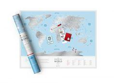 """Stírací mapa světa """"Travel Map Silver World"""" – Knihkupectví Neoluxor"""