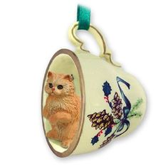 Persian Red Cat Tea Cup Green