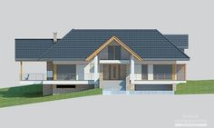 House with attic in modern style with usable area House with a large garage. Minimum size of a plot needed for building a house is m. House Plans Mansion, Cottage Style House Plans, My House Plans, Bungalow House Design, Modern House Design, 2 Storey House Design, Home Fashion, Home Projects, Building A House