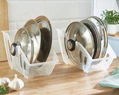 2 x Pan Saucepan Lid Stores Rack Holder Keeper Stacker Kitchen Cookware Protect
