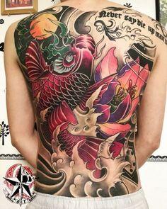 Koi Tattoo Design, Tattoo Designs, Back Tattoo, Pattern Wallpaper, Iphone Wallpaper, Ink, Tattoos, Japan, Tatuajes