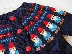Gnome Cardigan (no pattern) Knitting For Kids, Crochet For Kids, Baby Knitting, Knit Crochet, Knitting Designs, Knitting Projects, Knitting Patterns, Crochet Patterns, Fair Isle Pattern