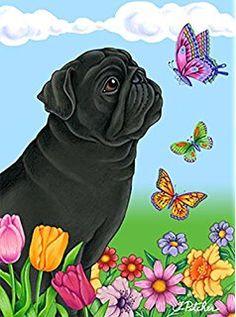Pug Black - Best of Breed Butterfly Garden Flag