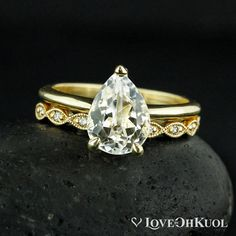 Gold White Topaz Engagement Ring - Hand Milgrained Leaf Wedding Band - Bridal Set