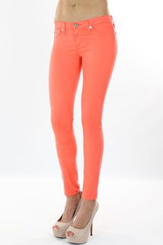 coral skinny jeans / ag jeans - on a mission to find a flattering version of these, minus the hoochy pumps