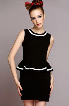 Black Sleeveless Ruffle Slim Bodycon Dress $63.33