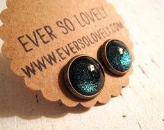 summer nights and shooting stars - black dark green sparkly metallic nickel free post earrings
